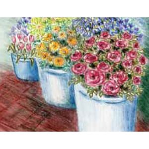 Inktense pencils: flower stalls project