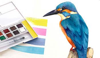 Inktense Paint Kingfisher