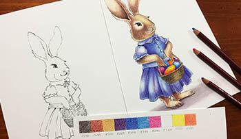 Pastel Pencil Easter Bunny