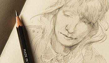 Graphic Pencil Portrait Drawing