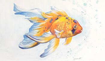 Metallic and Inktense Goldfish