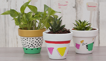 Painting a Plant Pot with Derwent